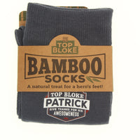 "Top Bloke Mens Gift Socks for Him - A Natural Bamboo Treat for ""Patrick"""
