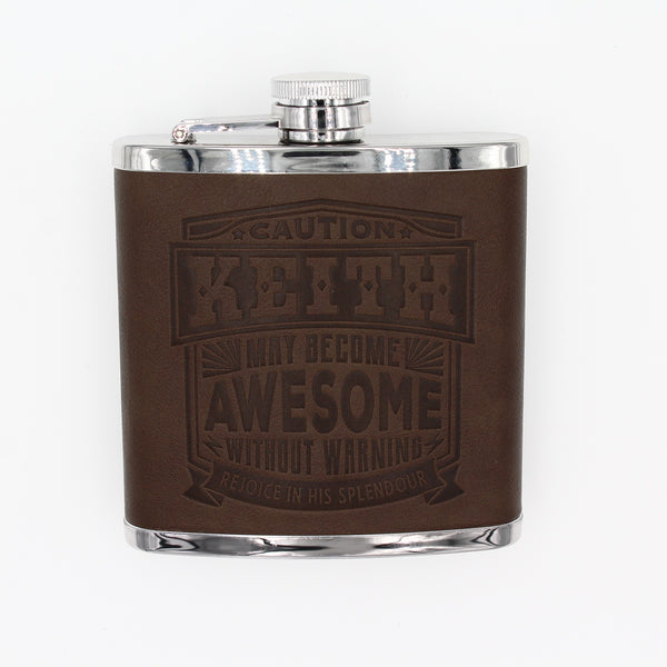 "Top Bloke Mens Gift Hip Flask for Him -  Treat for ""Keith"""