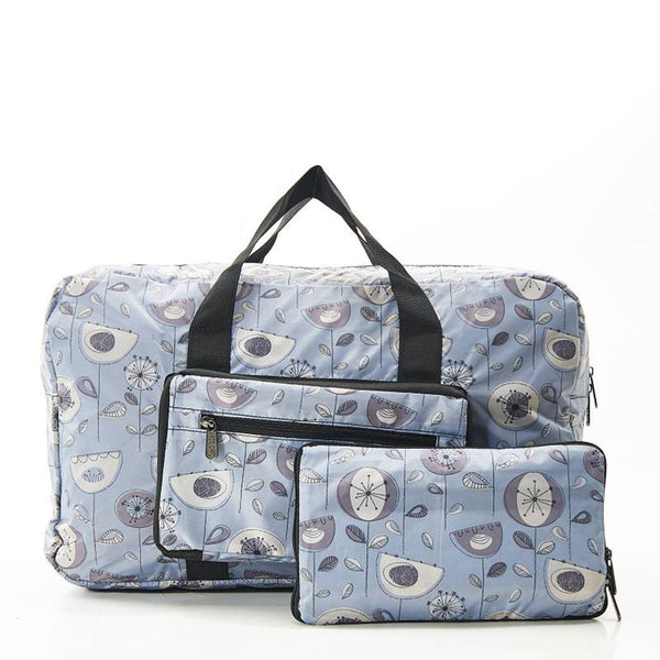 Eco Chic Lightweight Foldable Holdall 1950s Flower (Grey)