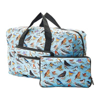 Eco Chic Lightweight Foldable Holdall Wild Birds (Blue)