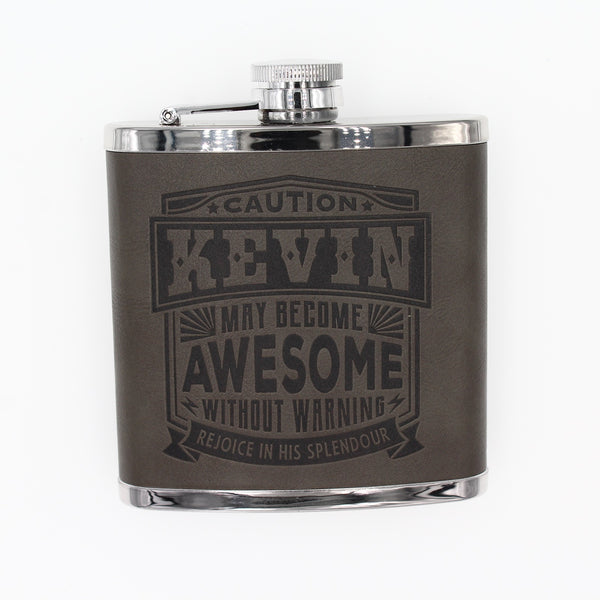 "Top Bloke Mens Gift Hip Flask for Him -  Treat for ""Kevin"""