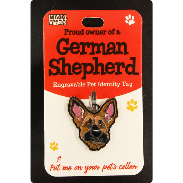 DESIRABLE GIFTS GERMAN SHEPHERD WAGS & WHISKERS DOG PET TAG I CAN NOT ENGRAVE THIS ITEM