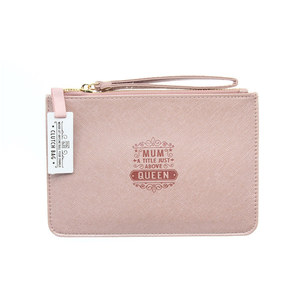 "Clutch Bag With Handle & Embossed Text ""Mum"""
