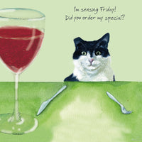 Black White Cat Greeting Card – Friday Special By the little dog laughed