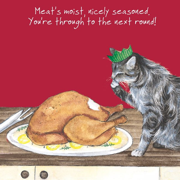 Silver Grey Tabby Cat Turkey Roast Christmas Card NICELY SEASONED - SINGLE card SQDX03