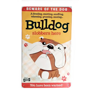 "Wags & Whiskers  Dog Sign/Plaque ""Bulldog"" - Tin Plaque"