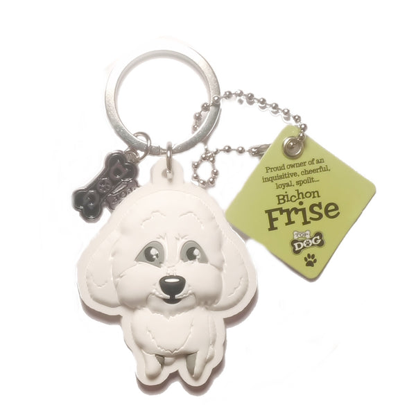 "Dog Key Ring ""Bichon Frise"" by Paper Island Top Dog & Cat Keyrings"
