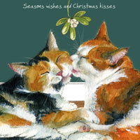 Tortoiseshell and Ginger Cats Christmas Card – Seasons Wishes