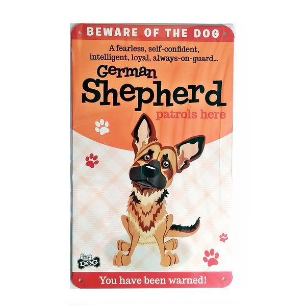 "Wags & Whiskers  Dog Sign/Plaque ""German Shepherd"" - Tin Plaque"