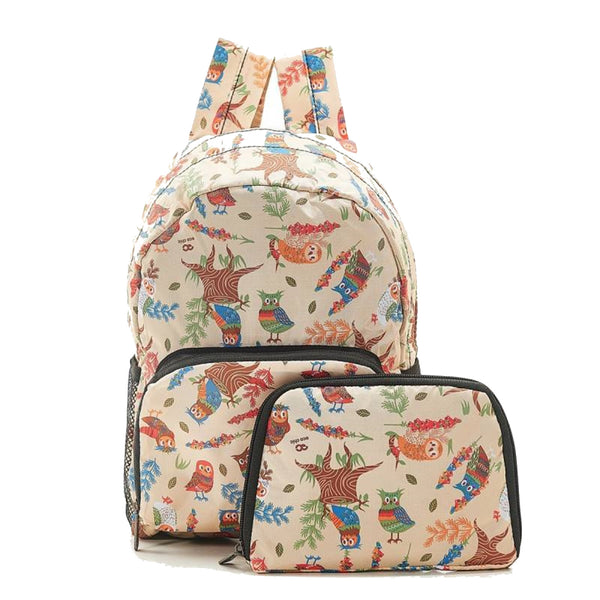 New 2020 Eco Chic 100% Recycled Foldabe Owl Print Mini Backpack