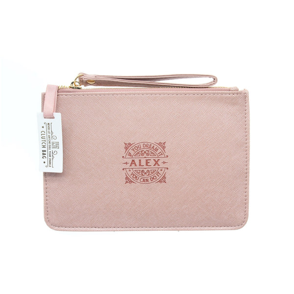"Clutch Bag With Handle & Embossed Text ""Alex"""
