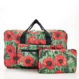 Eco Chic Recycled Cabin Approved 30 Litre Foldable Holdall (Poppies - Green)