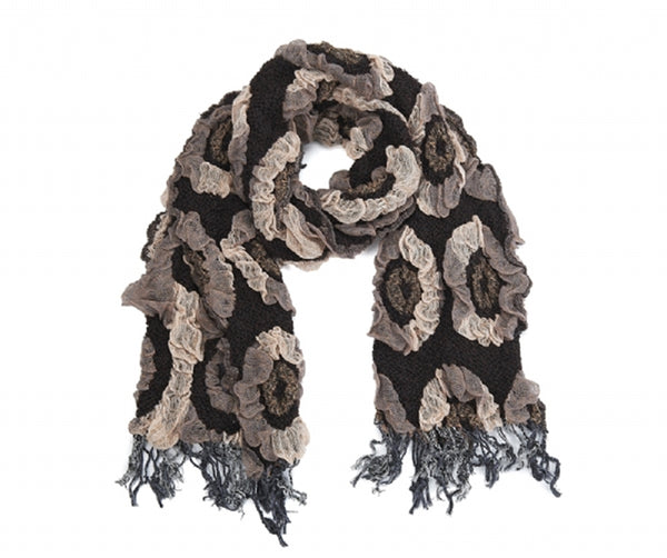 Textured Swirl Pattern Brown Mix Scarf