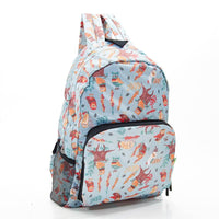 ECO CHIC Foldaway Back Pack/School Bag/Shopping Bag - Made From Recycled Plastic Bottles - Owls (Blue)