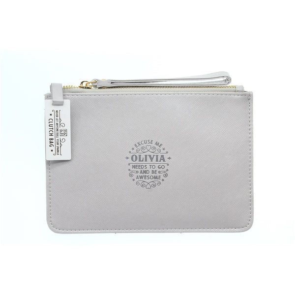 "Clutch Bag With Handle & Embossed Text ""Olivia"""