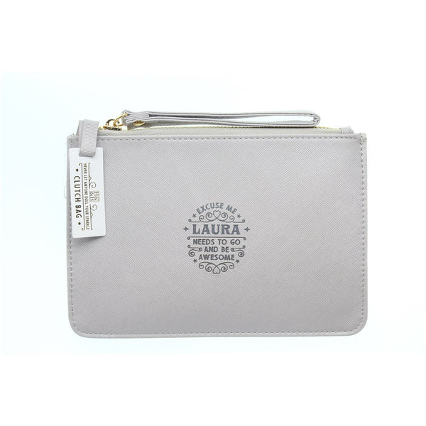 "Clutch Bag With Handle & Embossed Text ""Laura"""