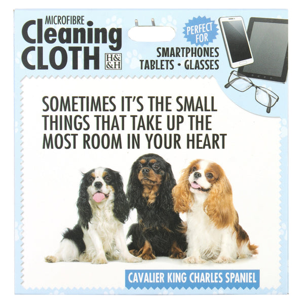 "Microfibre Cleaning Cloth with Cavalier King Charles Spaniel Dog print and saying ""Sometimes it's the small things that take up the most room in your heart"""