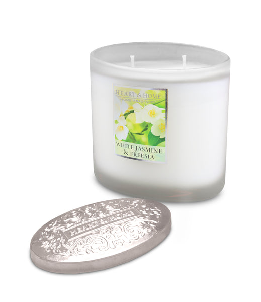 White Jasmine & Freesia Fragranced 2 Wick Ellipse Candle from Heart & Home