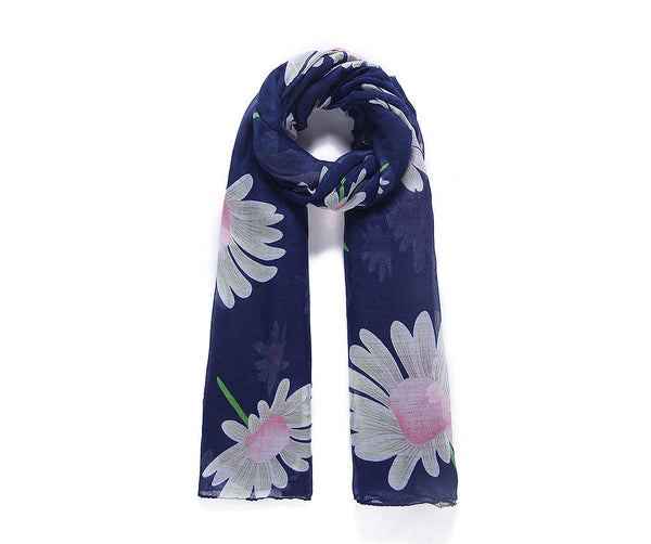 Blue floral print long scarf