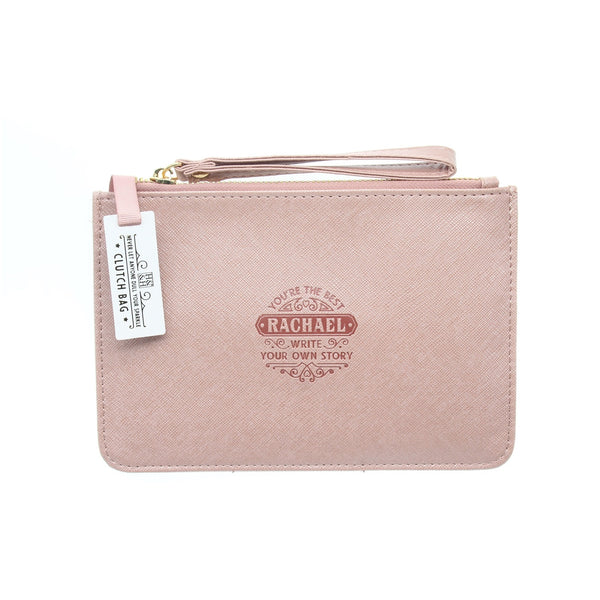 "Clutch Bag With Handle & Embossed Text ""Rachael"""