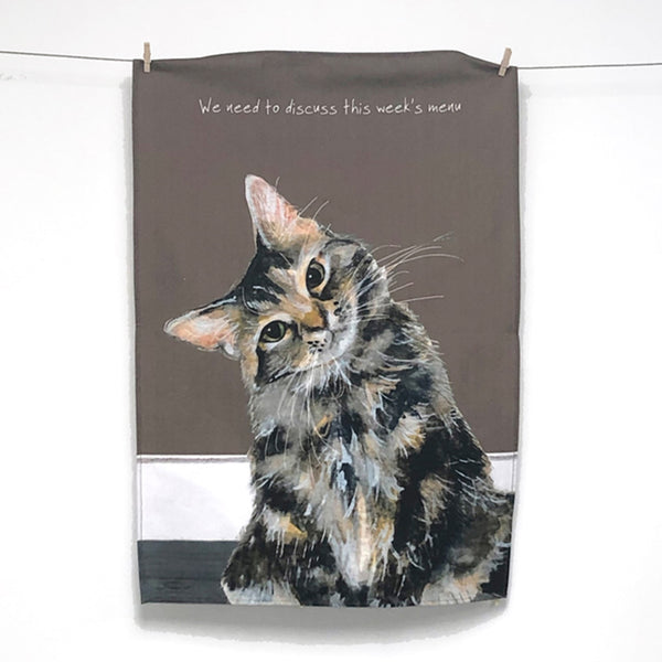 Tabby Cat Tea Towel – Menu