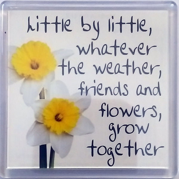 "Heart & Home Sentiment Fridge Magnet ""Little by little whatever the weather"""