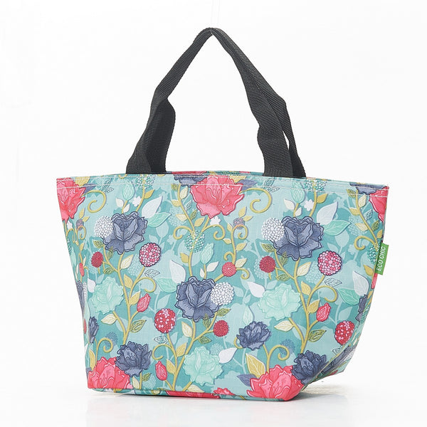 Eco Chic Rose Print Cool Bag / Lunch Box Blue