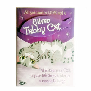 "Wags & Whiskers Cat Greeting Card ""Silver Tabby Wags & Whiskers Cat Sandpaper"" by Paper Island"