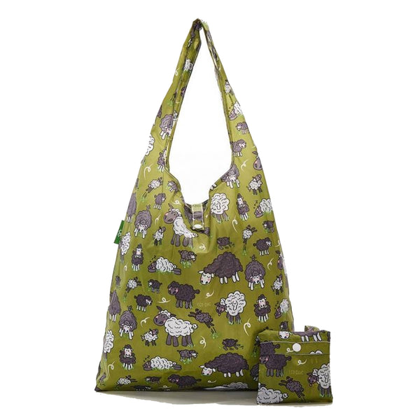 New 2020 Eco Chic 100% Recycled Foldable Sheep Print Reusable Shopper Bag