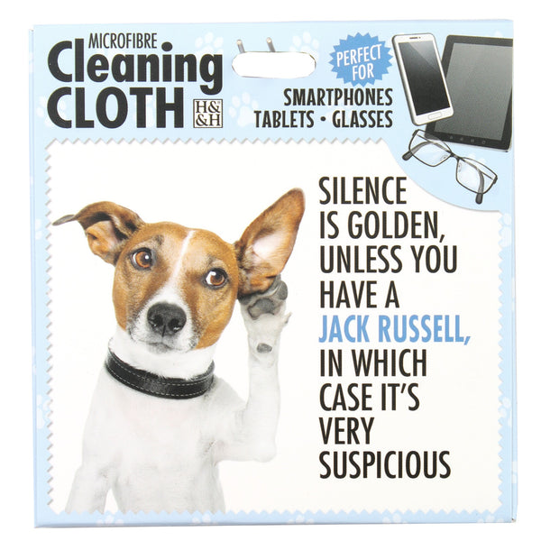 "Microfibre Cleaning Cloth with Jack Russell Dog print and saying ""Silence is golden? unless you own a Jack Russell, in which case it's very suspicious"""