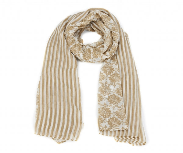 Striped And Damask Border Scarf In Black & White (Cream)