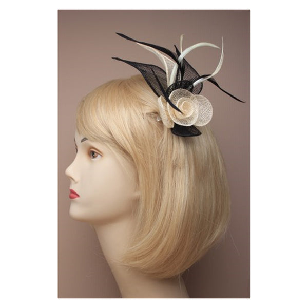 Cream / Black Mesh net flower fascinator with feathers on a beak clip and brooch pin.