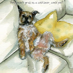 Border Terrier Greeting Card – Cold Beer