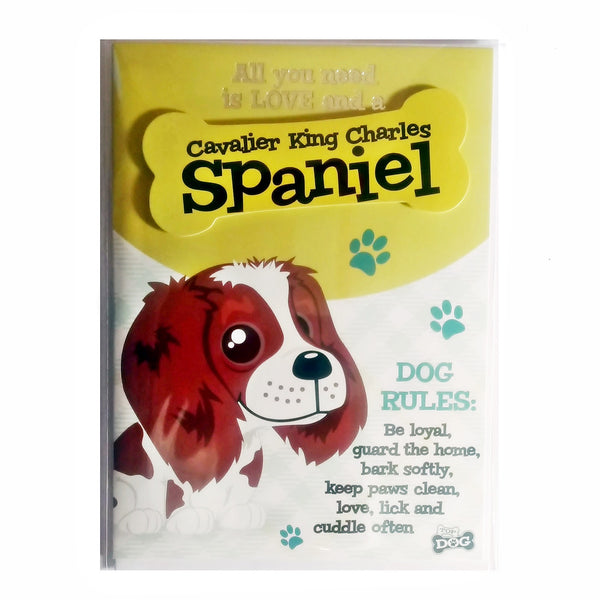 "Wags & Whiskers Dog Greeting Card ""Cavalier King Charles Spaniel"" by Paper Island"