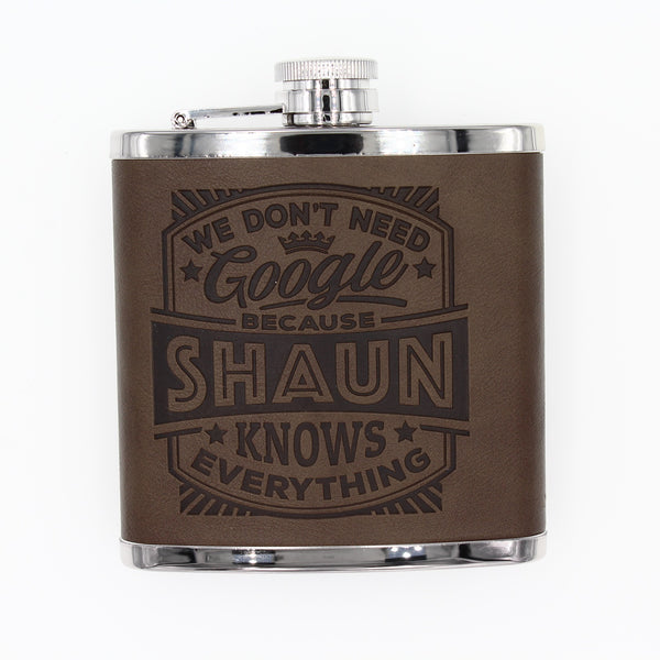 "Top Bloke Mens Gift Hip Flask for Him -  Treat for ""Shaun"""