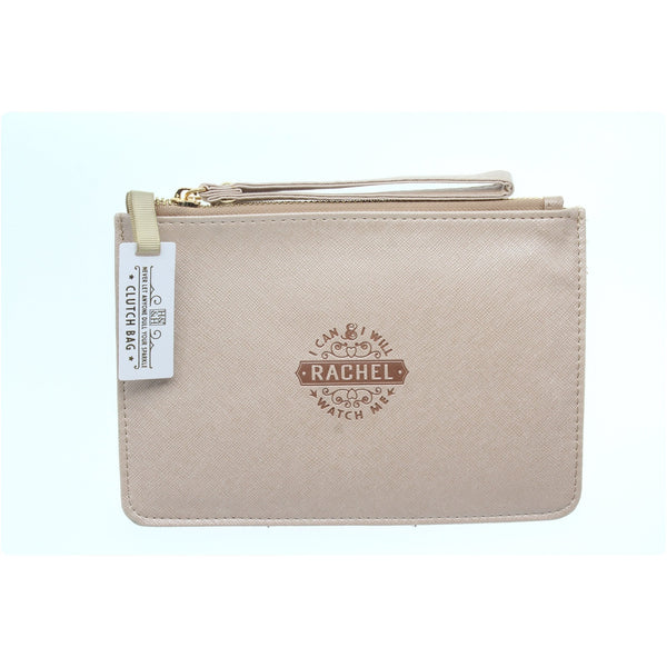 "Clutch Bag With Handle & Embossed Text ""Rachel"""
