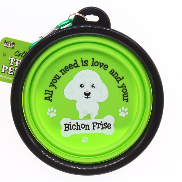 BICHON FRISE COLLAPSIBLE TRAVEL DOG BOWL GIFT