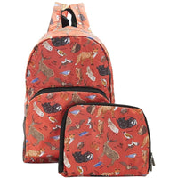 Eco Chic Lightweight Foldable Backpack (Woodland Red)