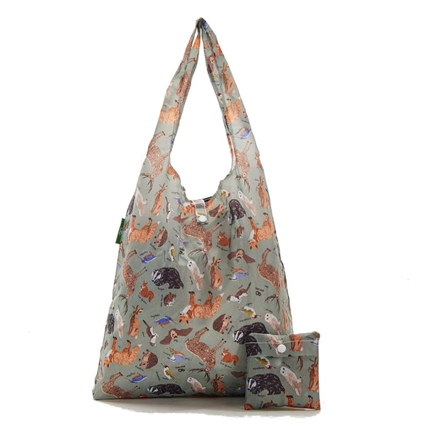 New 2020 Eco Chic 100% Recycled Foldable Woodland Print Reusable Shopper Bag