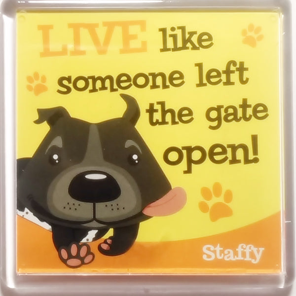 "Wags & Whiskers Dog Magnet ""Staffy (Black)"" by Paper Island"
