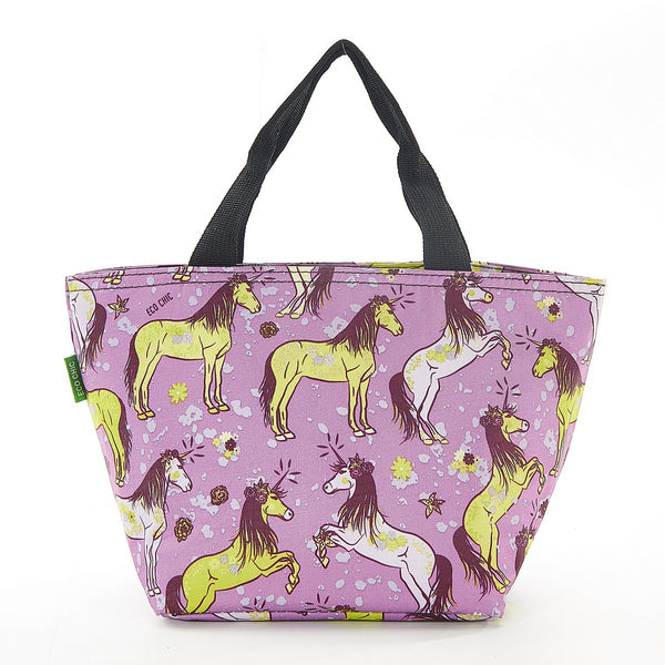 Expandable lunch cool bag by Eco Chic Unicorn  print - Purple