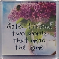 H & H Sentiment Fridge Magnet Sister & Friend two words that mean the same - 049