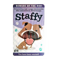 "Wags & Whiskers  Dog Sign/Plaque ""Staffy (Brown)"" - Tin Plaque"