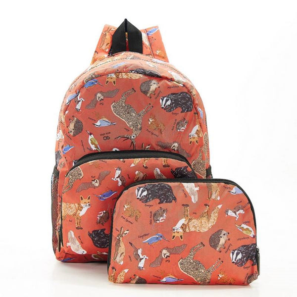 New 2020 Eco Chic 100% Recycled Foldabe Woodland Print Mini Backpack