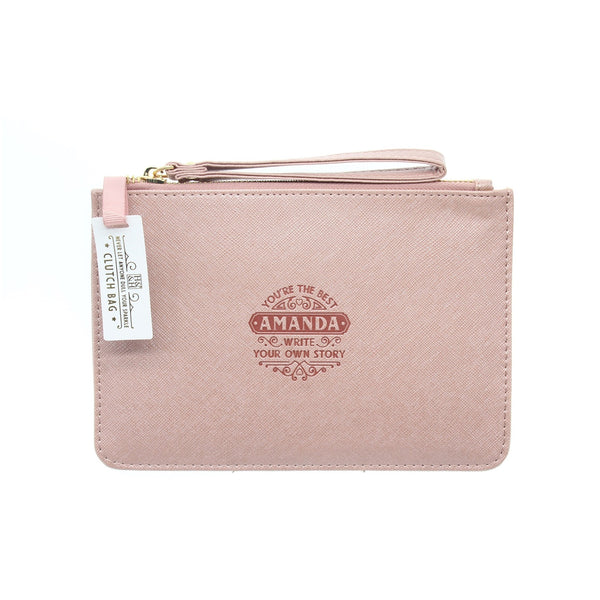 "Clutch Bag With Handle & Embossed Text ""Amanda"""