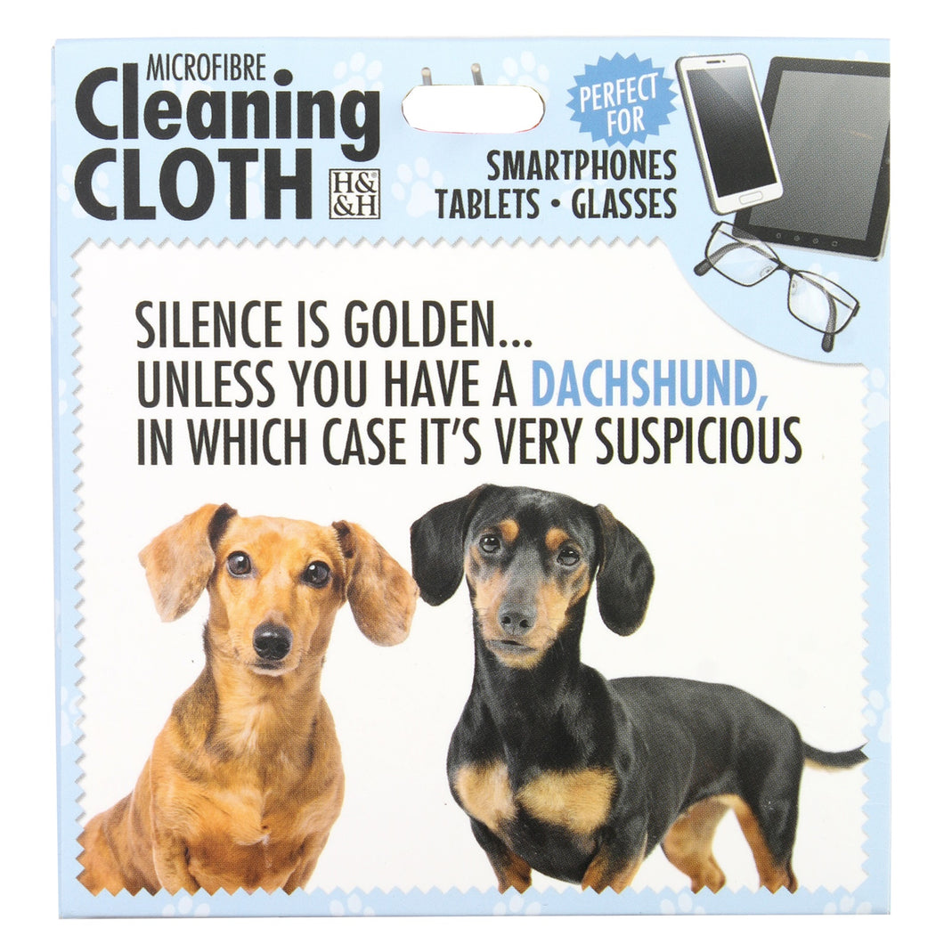 Microfibre Cleaning Cloth with Dachshund Dog print and saying