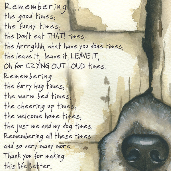 Dog Condolence greeting card – Remember Dog