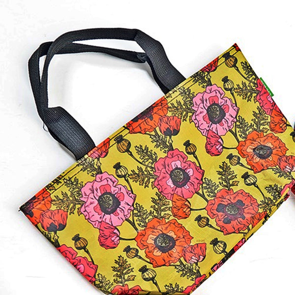 Eco Chic Cool bag with poppy design in Yellow/Mustard