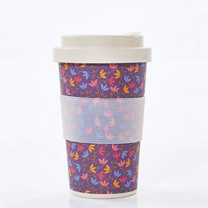 Eco Chic Purple Ditsy Doodle Bamboo Cup