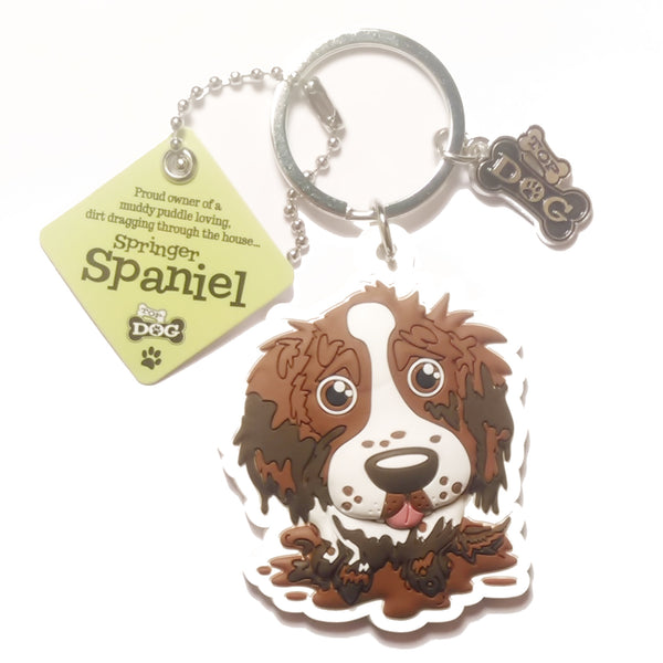 "Dog Key Ring ""Springer Spaniel (Brown & White)"" by Paper Island"